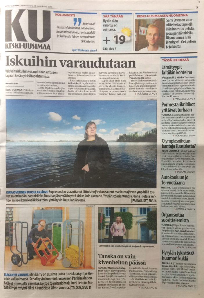 Fleimio in the front page of Keski-Uusimaa newspaper 24.5.2017