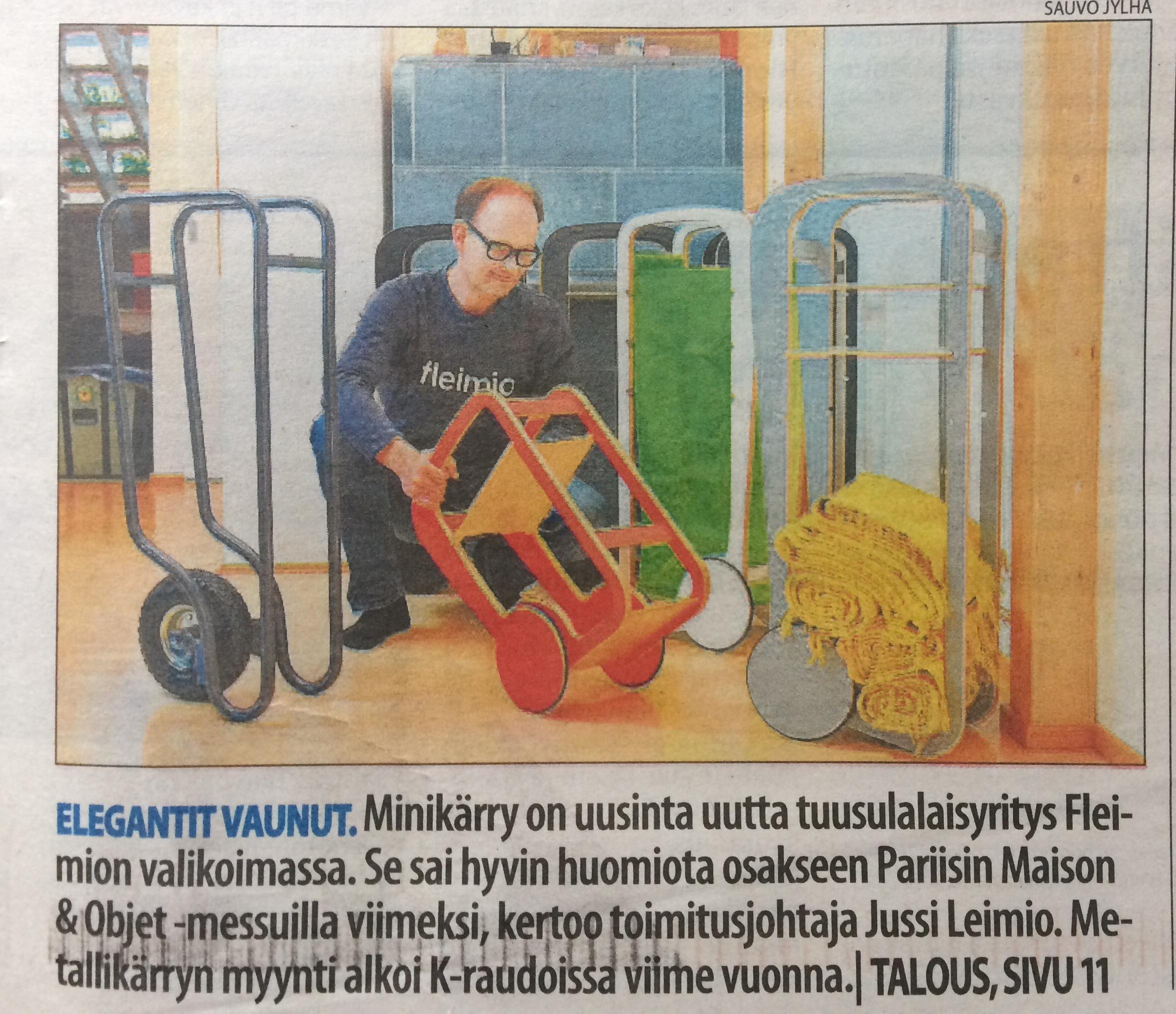 elegant fleimio trolleys / Keski-Uusimaa newspaper 24.7.2017