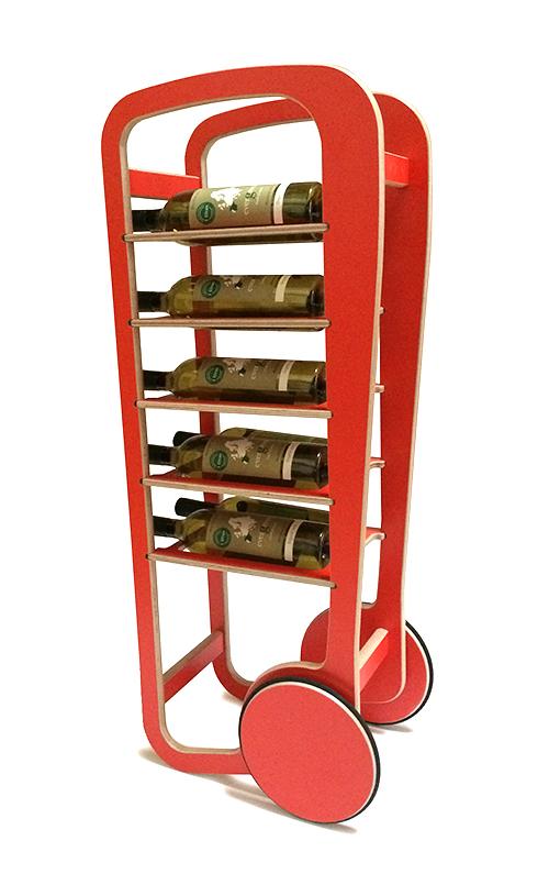 red fleimio wine trolley with wine bottles