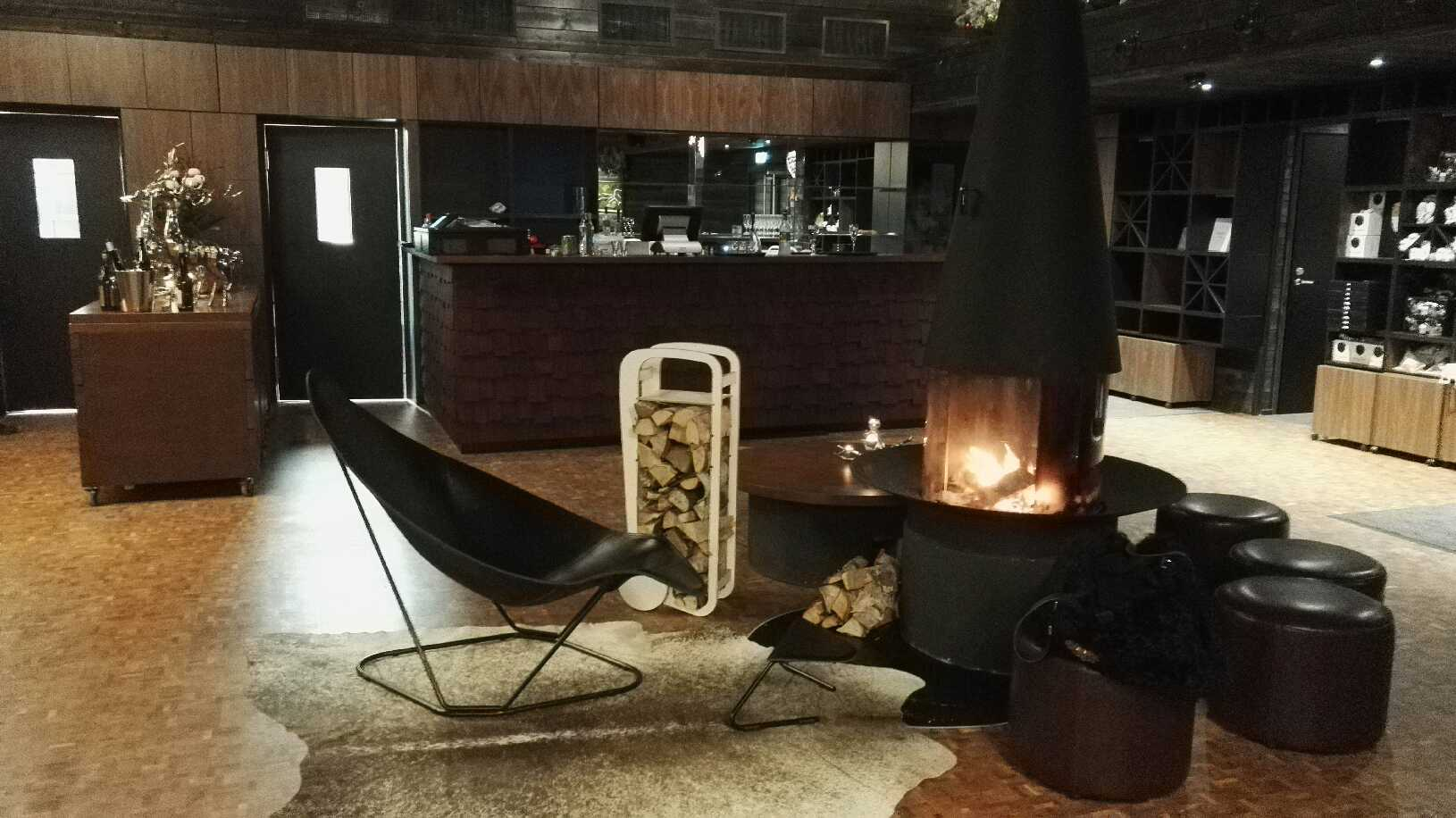 Arctic TreeHouse hotel lobby with fleimio trolley original