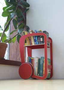 fleimio mini trolley red with books at fleimio headquarters