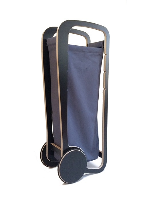 dark grey fleimio bag in black fleimio trolley