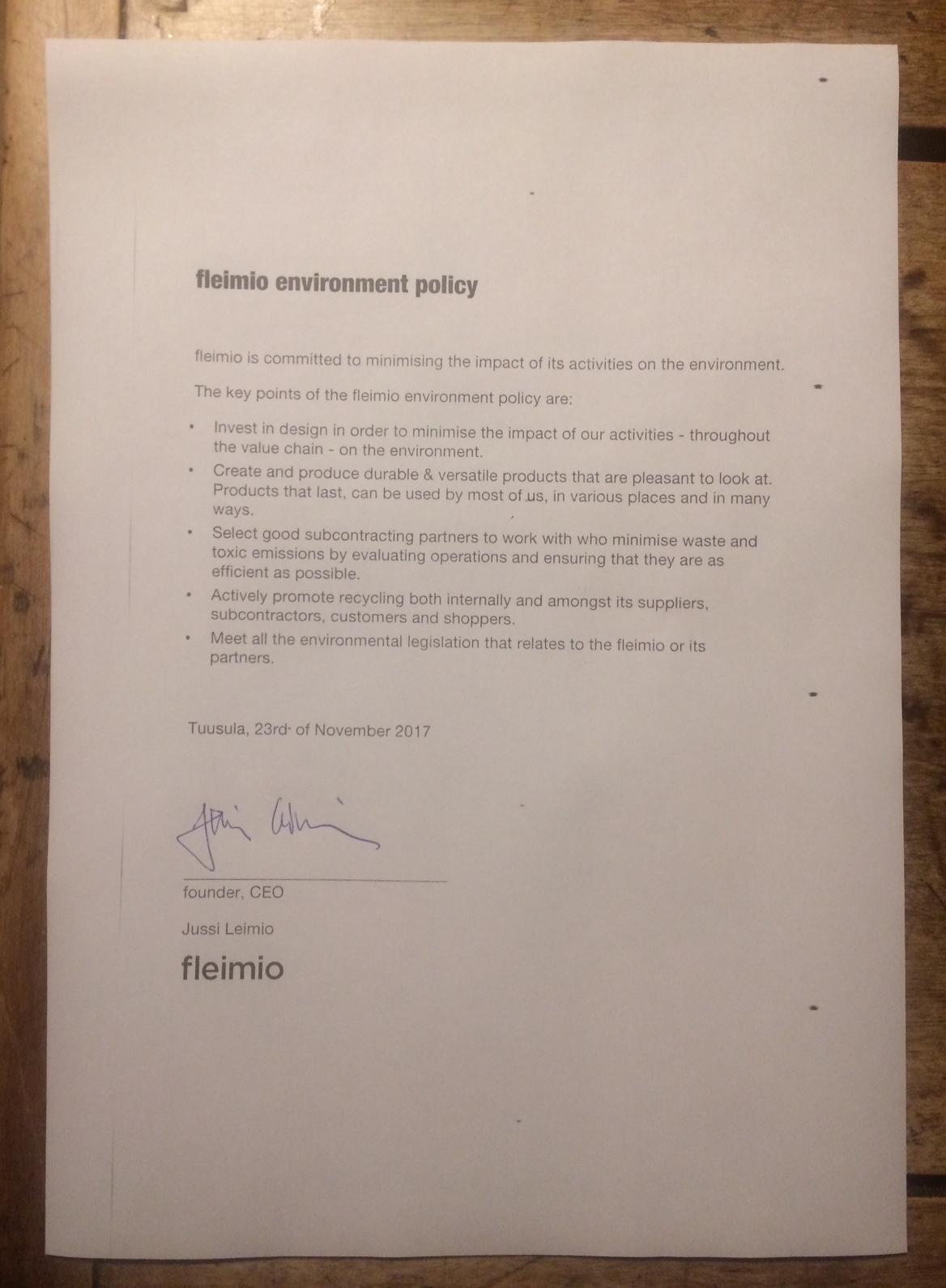 fleimio-environment-policy