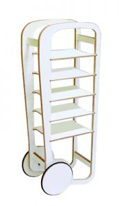 white fleimio trolley 5 shelves