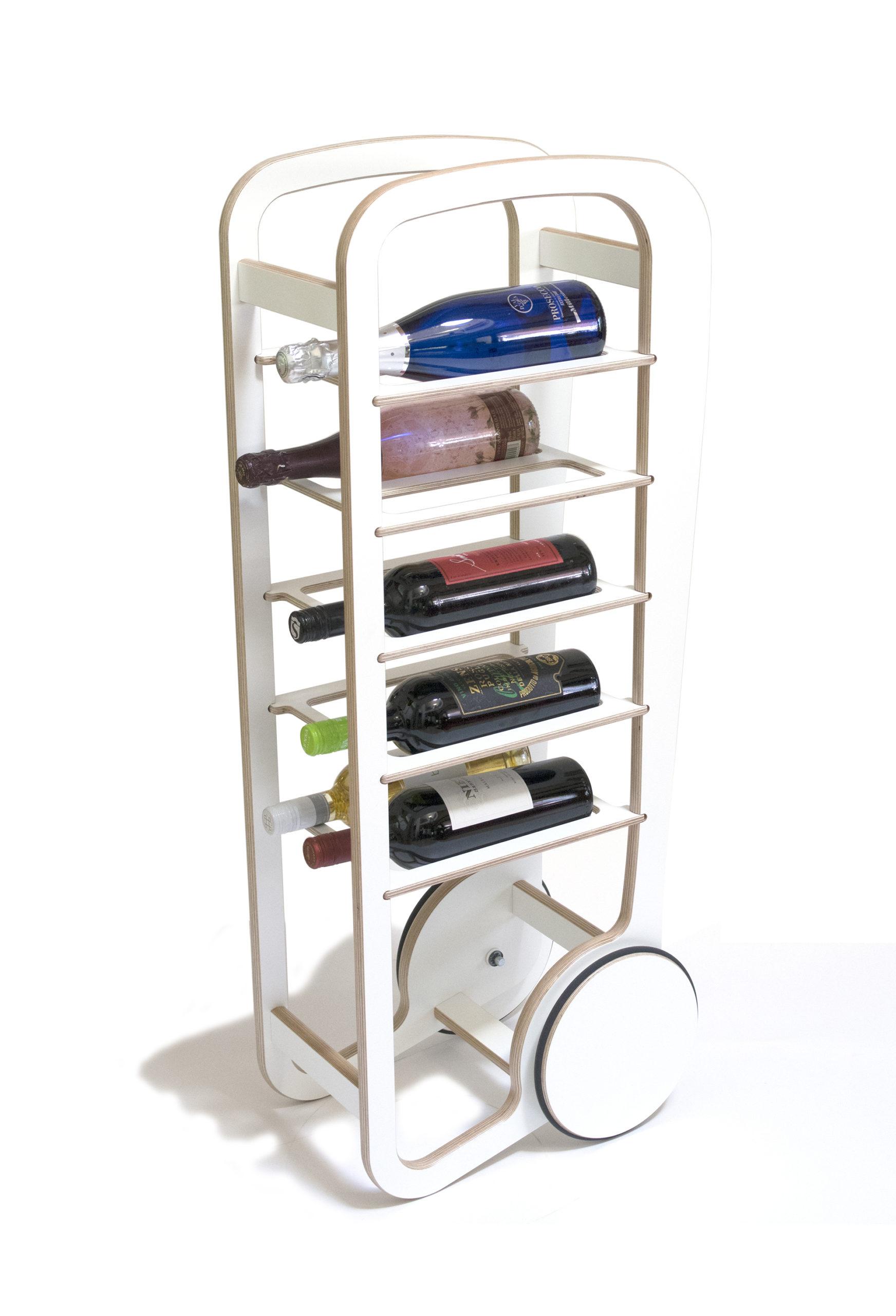 fleimio wine trolley white with wine bottles