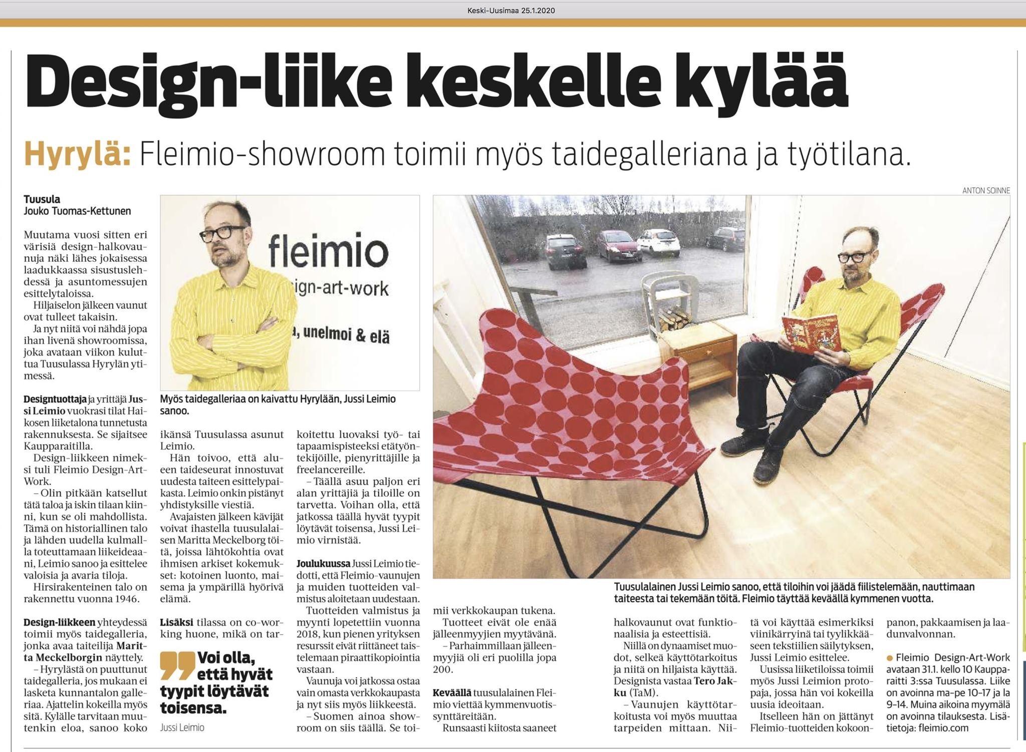 Keski-Uusimaa design-liike keskelle kylää s 16-17 25012020